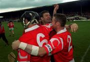 13 June 1999; Cork Manager Jimmy Barry Murphy celebrates Corks win with Brian Corcoran, 6, and Fergal Ryan, 2, Cork. Cork v Waterford, Senior Hurling Championship, Semple Stadium, Thurles. Picture credit: Ray McManus / SPORTSFILE