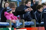 19 February 2006; Two year old  Aoife Doyle enjoys the game with her grandfather Larry Doyle. Leinster Schools Senior Cup, St Mary's v Castleknock, Donnybrook, Dublin. Picture credit: Ciara Lyster / SPORTSFILE
