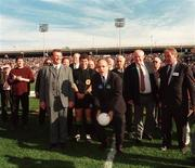 18 October 1997; Mayor of New York City Rudolph Guiliani throw's the ball in before the game watches by Joe McDonagh, President of the GAA and Referee Brian White. Church and General National Football League, Kerry v Canan, Downing Stadium, Randall's Island, New York, USA. Picture credit; Ray McManus / SPORTSFILE