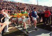 18 October 1997; Kerry captain Liam Hassett and Cavan captain Stephen King lead their sides put before the game. Church and General National Football League, Kerry v Cavan, Downing Stadium, Randall's Island, New York, USA. Picture credit; Ray McManus / SPORTSFILE