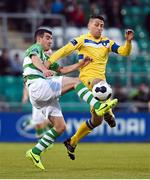 2 May 2014; Robert Bayly, Shamrock Rovers, in action against Shane Duggan, Limerick FC. Airtricity League Premier Division, Shamrock Rovers v Limerick FC, Tallaght Stadium, Tallaght, Co. Dublin. Picture credit: Ramsey Cardy / SPORTSFILE