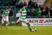 2 May 2014; Shamrock Rovers' Sean O'Connor strikes a penalty which was saved by replacement goalkeeper Shane Tracy, Limerick F.C. Airtricity League Premier Division, Shamrock Rovers v Limerick FC, Tallaght Stadium, Tallaght, Co. Dublin. Picture credit: Ramsey Cardy / SPORTSFILE