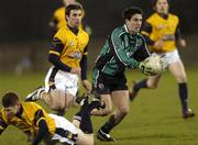 25 February 2006; Miceal O'Rourke, QUB, in action against Bryan Cullen and Stephen Cluxton, DCU. Datapac Sigerson Cup Final, Queens University, Belfast v Dublin City University, Parnell Park, Dublin. Picture credit: Damien Eagers / SPORTSFILE