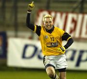 25 February 2006; Conor Mortimer, DCU, celebrates the final point of the match. Datapac Sigerson Cup Final, Queens University, Belfast v Dublin City University, Parnell Park, Dublin. Picture credit: Damien Eagers / SPORTSFILE