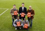 27 February 2006; Former Republic of Ireland players Niall Quinn and Curtis Fleming, GPA Chief Executive Dessie Farrell and Hailuu Netsiyanawa, left and Abdi Mohamed, pupils from O'Connells C.B.S at the launch of a major educational initiative to show Racism the Red Card in Ireland, which is a campaign aimed at getting the anti-racism message across through the medium of education and sport. Tolka Park, Dublin. Picture credit: Damien Eagers / SPORTSFILE