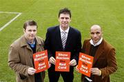 27 February 2006; Former Republic of Ireland players Niall Quinn and Curtis Fleming with GPA Chief Executive Dessie Farrell at the launch of a major educational initiative to show Racism the Red Card in Ireland, which is a campaign aimed at getting the anti-racism message across through the medium of education and sport. Tolka Park, Dublin. Picture credit: Damien Eagers / SPORTSFILE