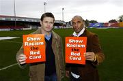 27 February 2006; Former Republic of Ireland player Curtis Fleming with GPA Chief Executive Dessie Farrell at the launch of a major educational initiative to show Racism the Red Card in Ireland, which is a campaign aimed at getting the anti-racism message across through the medium of education and sport. Tolka Park, Dublin. Picture credit: Damien Eagers / SPORTSFILE