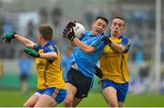 3 May 2014; Cormac Costello, Dublin, in action against Niall McInerney, left, and Thomas Featherston, Roscommon. Cadbury GAA Football All-Ireland U21 Championship Final, Dublin v Roscommon, O'Connor Park, Tullamore, Co. Offaly. Picture credit: Dáire Brennan / SPORTSFILE