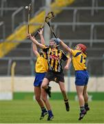 4 May 2014; Ann Dalton, Kilkenny, in action against Orlaith Duggan, left, and Deirdre Murphy, Clare. Irish Daily Star National Camogie League Division 1 Final, Kilkenny v Clare, Semple Stadium, Thurles, Co. Tipperary. Picture credit: Diarmuid Greene / SPORTSFILE