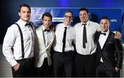 3 May 2014; Leinster players, from left, Quinn Roux, Zane Kirchner, Darragh Fanning, Ben Marshall and John Cooney at the Leinster Rugby Awards Ball. The annual Leinster Rugby Awards Ball Awards Ball took place in the Mansion House, Saturday evening where Jack McGrath was awarded the Bank of Ireland Leinster Rugby Players' Player of the Year and Marty Moore was awarded the Best Menswear Young Player of the Year award. Risteard Cooper was the Master of Ceremonies on a great night which also acknowledged the outstanding contributions of Leo Cullen and Brian O'Driscoll as they retire at the end of the season. For a full list of award winners and more information log on to www.leinsterrugby.ie. Picture credit: Stephen McCarthy / SPORTSFILE