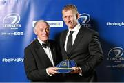 3 May 2014; Leo Cullen is presented with a cap as a farewell present on behalf of Leinster Rugby from Leinster President Paul Deering at the Leinster Rugby Awards Ball. The annual Leinster Rugby Awards Ball Awards Ball took place in the Mansion House, Saturday evening where Jack McGrath was awarded the Bank of Ireland Leinster Rugby Players' Player of the Year and Marty Moore was awarded the Best Menswear Young Player of the Year award. Risteard Cooper was the Master of Ceremonies on a great night which also acknowledged the outstanding contributions of Leo Cullen and Brian O'Driscoll as they retire at the end of the season. For a full list of award winners and more information log on to www.leinsterrugby.ie. Picture credit: Stephen McCarthy / SPORTSFILE