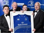 3 May 2014; Garda RFC President Eamon O'Grady, right, is presented with the Leinster Special Merit Club of the Year award by Paul Deering, Leinster President, in the compnay of Aaron Zulkouski, left, and Michael Losty of Westmanstown Taggers, at the Leinster Rugby Awards Ball. The annual Leinster Rugby Awards Ball Awards Ball took place in the Mansion House, Saturday evening where Jack McGrath was awarded the Bank of Ireland Leinster Rugby Players' Player of the Year and Marty Moore was awarded the Best Menswear Young Player of the Year award. Risteard Cooper was the Master of Ceremonies on a great night which also acknowledged the outstanding contributions of Leo Cullen and Brian O'Driscoll as they retire at the end of the season. For a full list of award winners and more information log on to www.leinsterrugby.ie. Picture credit: Stephen McCarthy / SPORTSFILE