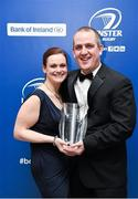 3 May 2014; Jarrod Bromley, OLSC (Official Leinster Supporters Club) who was presented with the Evening Herald Outstanding Contribution award, with his wife Alison at the Leinster Rugby Awards Ball. The annual Leinster Rugby Awards Ball Awards Ball took place in the Mansion House, Saturday evening where Jack McGrath was awarded the Bank of Ireland Leinster Rugby Players' Player of the Year and Marty Moore was awarded the Best Menswear Young Player of the Year award. Risteard Cooper was the Master of Ceremonies on a great night which also acknowledged the outstanding contributions of Leo Cullen and Brian O'Driscoll as they retire at the end of the season. For a full list of award winners and more information log on to www.leinsterrugby.ie. Picture credit: Stephen McCarthy / SPORTSFILE