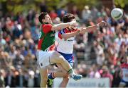 4 May 2014; Enda Varley, Mayo, in action against Ronan McGinley, New York. Connacht GAA Football Senior Championship Preliminary Round, New York v Mayo, Gaelic Park, Bronx, New York, USA. Picture credit: Pat Murphy / SPORTSFILE