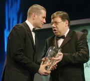 26 February 2006; Shay Given, of Newcastle United, who was presented with the Senior International Player of the Year, by Minister for Finance Brian Cowan, T.D., at the 16th eircom / FAI International Soccer Awards. Citywest Hotel, Dublin. Picture credit: David Maher / SPORTSFILE