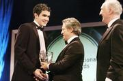 26 February 2006; Joey O'Brien, of Bolton Wanderers, receives the Under 19 International Player of the Year from Dr Philip Nolan, Chief Executive, eircom, in the company of David Blood, President, FAI, at the 16th eircom / FAI International Soccer Awards. Citywest Hotel, Dublin. Picture credit: David Maher / SPORTSFILE