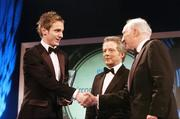 26 February 2006; Kevin Doyle, of Reading, is presented with the Under 21 International Player of the Year, by Dr Philip Nolan, centre, Chief Executive, eircom, and David Blood, President, FAI, at the 16th eircom / FAI International Soccer Awards. Citywest Hotel, Dublin. Picture credit: David Maher / SPORTSFILE