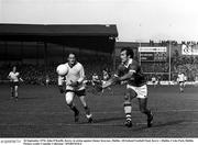 26 September 1976; John O'Keeffe, Kerry, in action against Jimmy Keavney, Dublin. All Ireland Football Final, Kerry v Dublin, Croke Park, Dublin. Picture credit: Connolly Collection / SPORTSFILE