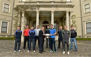6 May 2014; Senior footballers, from left to right, Leighton Glynn, Wicklow, Shane Lennon, Louth, Ross Munnelly, Laois, Patrick Collum, Longford, Philip McGauren, Eircom, Conor Gillespie, Meath, James McCarthy, Dublin, Alan Mulhall, Offaly, Ben Brosnan, Wexford and Eoin Doyle, Kildare, in attendance at the launch of the Leinster Senior Championships 2014. Farmleigh House, Dublin. Picture credit: Barry Cregg / SPORTSFILE