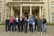 6 May 2014; Senior footballers, from left to right, Leighton Glynn, Wicklow, Shane Lennon, Louth, Ross Munnelly, Laois, Patrick Collum, Longford, John Horan, Chairman of the Leinster Council, Donal O Ciobhain, Supervalue Swords, Conor Gillespie, Meath, James McCarthy, Dublin, Alan Mulhall, Offaly, Ben Brosnan, Wexford and Eoin Doyle, Kildare, in attendance at the launch of the Leinster Senior Championships 2014. Farmleigh House, Dublin. Picture credit: Barry Cregg / SPORTSFILE