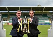 6 May 2014; Dundalk manager Stephen Kenny, left, and Sligo Rovers manager Ian Baraclough at Tallaght Stadium in advance of their Setanta Sports Cup Final. Tallaght Stadium, Tallaght, Co. Dublin. Picture credit: Stephen McCarthy / SPORTSFILE