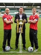6 May 2014; Sligo Rovers manager Ian Baraclough with players Alan Keane, left, and Paul O'Conor at Tallaght Stadium in advance of their Setanta Sports Cup Final against Dundalk. Tallaght Stadium, Tallaght, Co. Dublin. Picture credit: Stephen McCarthy / SPORTSFILE
