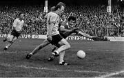 26 September 1976; Dublin's Brian Mullins shoots past Kerry goalkeeper Charlie Neligan to score his side's goal. All-Ireland Football Final, Dublin v Kerry, Croke Park, Dublin. Picture credit: Connolly Collection / SPORTSFILE