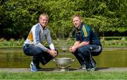 6 May 2014; Senior footballers Patrick Collum, Longford, and Alan Mulhall, Offaly, in attendance at the launch of the Leinster Senior Championships 2014. Farmleigh House, Dublin. Picture credit: Barry Cregg / SPORTSFILE