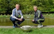 6 May 2014; Senior footballers Patrick Collum, Longford, and Ben Brosnan, Wexford, in attendance at the launch of the Leinster Senior Championships 2014. Farmleigh House, Dublin. Picture credit: Barry Cregg / SPORTSFILE