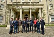 6 May 2014; Senior football managers, from left, Jason Ryan, Kildare, Jack Sheedy, Longford, Harry Murphy, Wicklow, Jim Gavin, Dublin, John Horan, Chairman of the Leinster Council, Mick O'Dowd, Meath, Aidan O'Rourke, Emmett McDonnell, Offaly, and Aidan O'Brien, Wexford, in attendance at the launch of the Leinster Senior Championships 2014. Farmleigh House, Dublin. Picture credit: Barry Cregg / SPORTSFILE