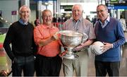 8 May 2014; Members of the All-Ireland Football winning Dublin team of 1974, from left, Bobby Doyle, Leslie Deegan, Paddy Cullen and Anton O'Toole with the Sam Maguire in attendance at a 40th anniversary reception hosted by the Dublin Airport Authority. Dublin Airport, Dublin. Picture credit: Stephen McCarthy / SPORTSFILE