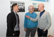 8 May 2014; Bernard Brogan Snr of the All-Ireland Football winning Dublin team of 1974, centre, in conversation with current Dublin footballer Paul Flynn, left, and member of the All-Ireland Football winning Dublin team of 1995 Paul Clarke at a 40th anniversary reception hosted by the Dublin Airport Authority. Dublin Airport, Dublin. Picture credit: Stephen McCarthy / SPORTSFILE