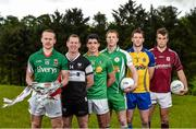 8 May 2014; In attendance at the launch of the 2014 Connacht GAA Football Championship are, from left to right, Andy Moran, Mayo, Adrian Marren, Sligo, Emlyn Mulligan, Leitrim, Mark Gottche, London, Niall Carty, Roscommon, and Paul Conroy, Galway. Connacht GAA Centre, Bekan, Claremorris, Co. Mayo. Picture credit: Diarmuid Greene / SPORTSFILE