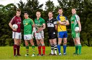 8 May 2014; In attendance at the launch of the 2014 Connacht GAA Football Championship are, from left to right, Paul Conroy, Galway, Emlyn Mulligan, Leitrim, Andy Moran, Mayo, Adrian Marren, Sligo, Niall Carty, Roscommon, and Mark Gottche, London. Connacht GAA Centre, Bekan, Claremorris, Co. Mayo. Picture credit: Diarmuid Greene / SPORTSFILE