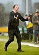 10 Mayl 2014; Sligo Rovers Manager Ian Baraclough gestures to the Sligo fans after the game. Setanta Sports Cup Final, Sligo Rovers v Dundalk, Tallaght Stadium, Tallaght, Co. Dublin. Picture credit: Ray Lohan / SPORTSFILE