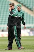 17 March 2006; Ronan O'Gara and David Humphreys during kicking practice. Ireland kicking practice, Twickenham, England. Picture credit: Gerry McManus / SPORTSFILE