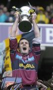 17 March 2006; Maurice Sheridan, Salthill / Knocknacarra, captain lifts the cup. AIB All-Ireland Club Senior Football Championship Final, St. Gall's v Salthill / Knocknacarra, Croke Park, Dublin. Picture credit: Damien Eagers / SPORTSFILE