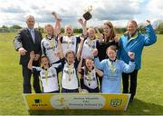 13 May 2014; Alan Kavanagh, left, Aviva, and Nixon Morton, right, FAI Schools Executive, with winners of the Girl's B section, St. Colmcilles, Ballybrack, Co. Dublin. Aviva Health FAI Primary School 5's Leinster Finals, MDL Grounds, Navan, Co. Meath. Picture credit: Paul Mohan / SPORTSFILE