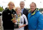 13 May 2014; Republic of Ireland international footballer Stephanie Roche, FAI, Alan Kavanagh, Aviva, and Nixon Morton, right, FAI Schools Executive, with Bobby Downer, captain of St. Colmcille's National School, Ballybrack, Co. Dublin, winners of the Girl's B section. Aviva Health FAI Primary School 5's Leinster Finals, MDL Grounds, Navan, Co. Meath. Picture credit: Paul Mohan / SPORTSFILE