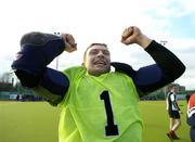 19 March 2006; Cork Harlequins goalkeeper Wesley Bateman celebrates after the game. Irish Men's Senior Cup Final, Cork Harlequins v Lisnagarvey, Belfield, UCD, Dublin. Picture credit: Brendan Moran / SPORTSFILE