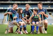 15 May 2014; The Brightest Stars of hurling came together in Croke Park today to mark Centra's fifth year as official sponsor of the GAA Hurling All-Ireland Senior Championship. The talented trio of Henry Shefflin, Patrick Horgan and Padraic Maher were all on hand as Centra announced their community hurling events will be taking place in stadiums and clubs the length and breadth of the country this summer. Centra will also be on the hunt for Ireland's Brightest Young Star to get the views and opinions of today's young players and the child with the brightest answers will be crowned Centra's Brightest Young Star! For more information on the community events go to www.centra.ie or find Centra Ireland on Facebook and Twitter. At the Centra announcement in Croke Park are Cork hurler Patrick Horgan, left, Kilkenny hurler Henry Shefflin and Tipperary hurler Padraic Maher, right, being interviewed by Isabella Crinion, age 8, and Evan Wilkes, age 10. Picture credit: Stephen McCarthy / SPORTSFILE