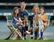 15 May 2014; The Brightest Stars of hurling came together in Croke Park today to mark Centra's fifth year as official sponsor of the GAA Hurling All-Ireland Senior Championship. The talented trio of Henry Shefflin, Patrick Horgan and Padraic Maher were all on hand as Centra announced their community hurling events will be taking place in stadiums and clubs the length and breadth of the country this summer. Centra will also be on the hunt for Ireland's Brightest Young Star to get the views and opinions of today's young players and the child with the brightest answers will be crowned Centra's Brightest Young Star! For more information on the community events go to www.centra.ie or find Centra Ireland on Facebook and Twitter. At the Centra announcement in Croke Park are Niamh Scally, Centra, and Kilkenny hurler Henry Shefflin with Isabella Crinion, age 8, and Evan Wilkes, age 10. Picture credit: Stephen McCarthy / SPORTSFILE