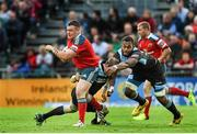 16 May 2014; Dave Kilcoyne, Munster, is tackled by Alastair Kellock, left, and Leone Nakarawa, Glasgow Warriors. Celtic League 2013/14 Play-off, Glasgow Warriors v Munster, Scotstoun Stadium, Glasgow, Scotland. Picture credit: Diarmuid Greene / SPORTSFILE