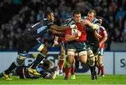 16 May 2014; CJ Stander, Munster, is tackled by Leone Nakarawa, left, and Alastair Kellock, Glasgow Warriors. Celtic League 2013/14 Play-off, Glasgow Warriors v Munster, Scotstoun Stadium, Glasgow, Scotland. Picture credit: Diarmuid Greene / SPORTSFILE