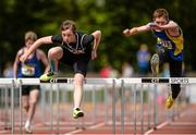 17 May 2014; Shane Mulligan, left, from Tramore CBS, Co. Waterford, jumps the last on his way to winning the Junior Boy's 80m Hurdles from second place Padraig Nash, from Doughas CS, Cork City, at the Aviva Munster Schools Track and Field Championships. Cork IT, Bishopstown, Cork.b Picture credit: Matt Browne / SPORTSFILE