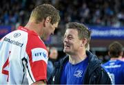 17 May 2014; Brian O'Driscoll, Leinster, shares a joke with Ulster captain Johann Muller after Muller's last game for Ulster. Celtic League 2013/14 Play-off, Leinster v Ulster, RDS, Ballsbridge, Dublin. Picture credit: Brendan Moran / SPORTSFILE