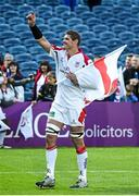 17 May 2014; Ulster captain Johann Muller acknowledges the crowd after playing his last game for Ulster. Celtic League 2013/14 Play-off, Leinster v Ulster, RDS, Ballsbridge, Dublin. Picture credit: Brendan Moran / SPORTSFILE