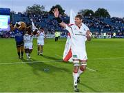 17 May 2014; Ulster captain Johann Muller acknowledges the crowd after playing his last game for Ulster. Celtic League 2013/14 Play-off, Leinster v Ulster, RDS, Ballsbridge, Dublin. Picture credit: Ramsey Cardy / SPORTSFILE