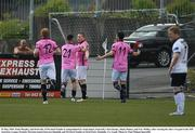 29 May 2016; Paul Murphy, 2nd from left, of Wexford Youths is congraulated by team-mates, from left, Chris Kenny, Shane Dunne, and Eric Molloy, after scoring his side's 1st goal in the SSE Airtricity League Premier Division match between Dundalk and Wexford Youths at Oriel Park, Dundalk, Co. Louth. Photo by Paul Mohan/Sportsfile