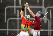 18 May 2014; Tommy Doyle, Westmeath, in action against Marty Kavanagh, Carlow. GAA All-Ireland Senior Hurling Championship Qualifier Group - Round 4, Carlow v Westmeath. Dr. Cullen Park, Carlow. Picture credit: Pat Murphy / SPORTSFILE